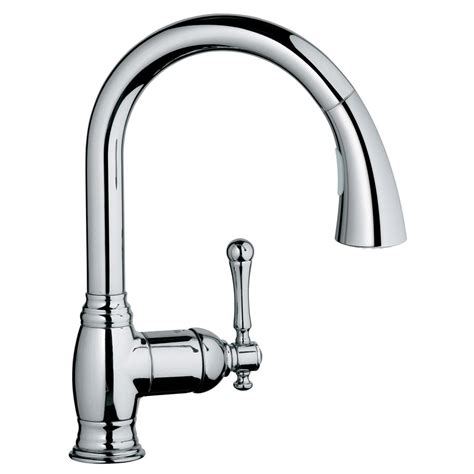 kitchen faucet pull down sprayer grohe eurocube single handle pull down sprayer kitchen faucet in supersteel infinityfinish