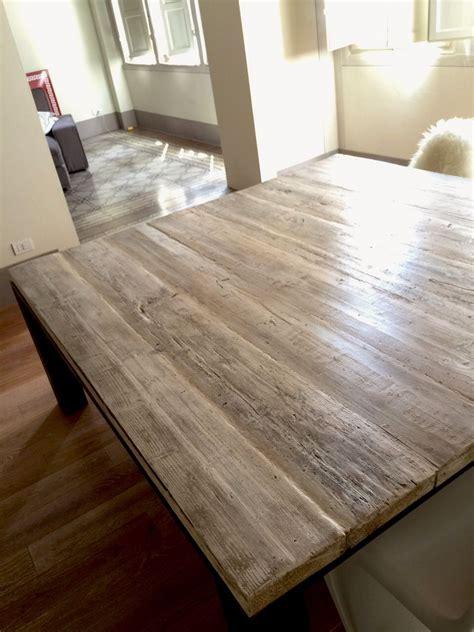 tavole ponteggio usate tavolo industriale creato con longherine in ferro grezzo