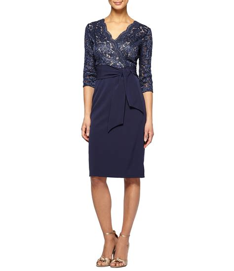 Sleeve Belted Dress alex evenings 3 4 sleeve belted sheath dress dillards