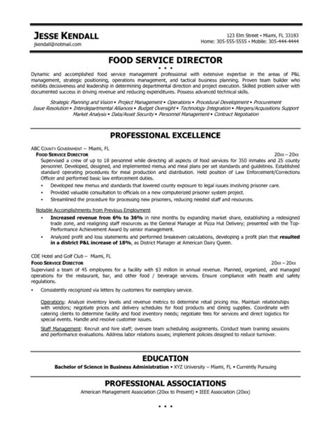 Resume Exles For Service Manager Food Service Manager Resume Resume Template Free