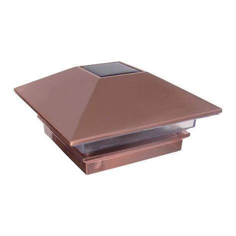copper l post tops veranda 4 in x 4 in plastic copper finish solar powered