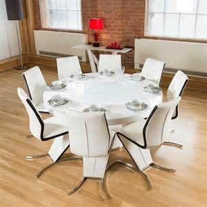 Round Dining Table For 8 10 Round White Gloss Dining Table Lazy Susan 8 White Amp Black