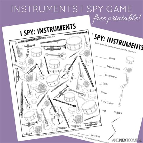 printable music lesson plans instruments of the orchestra musical instruments themed i spy game free printable for