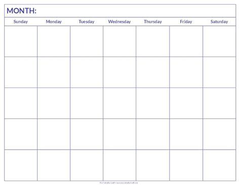 ideas printable blank calendar pinterest