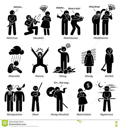 Character Traits For The Letter Q negative personalities character traits clipart stock