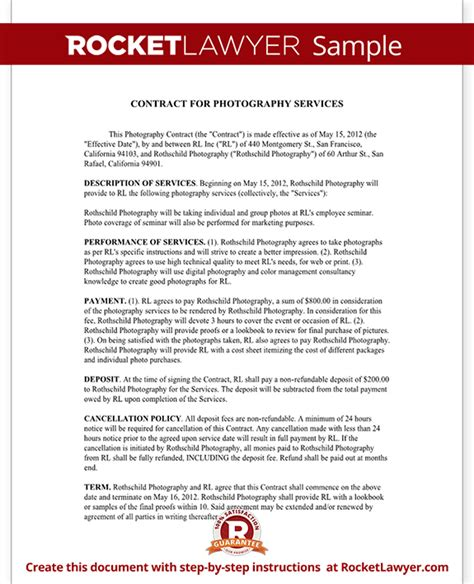 Photography Contract Template For Weddings Portraits Events Photography Contract Forms Template