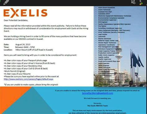 itt exelis wants you or anyone with a pulse kuwait fair in kuwait