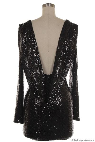 sequin backless draped open  long sleeve mini dress black