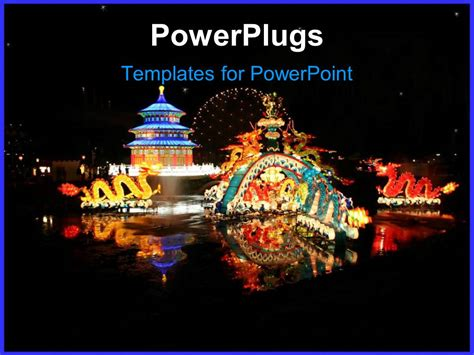 Powerpoint Template A Depiction Of Typical Chinese Festival With Dragons And Fireworks 11995 Festive Powerpoint Templates