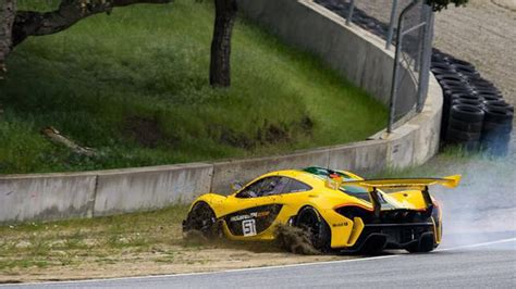 p1 crash near crash mclaren p1 gtr spins out at laguna seca