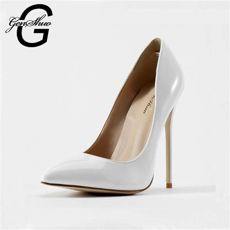 all white high heels genshuo shoes 2016 and autumn new shoes