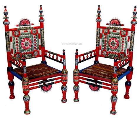 tribal pattern chair a pair of traditional punjabi tribal chairs from pakistan