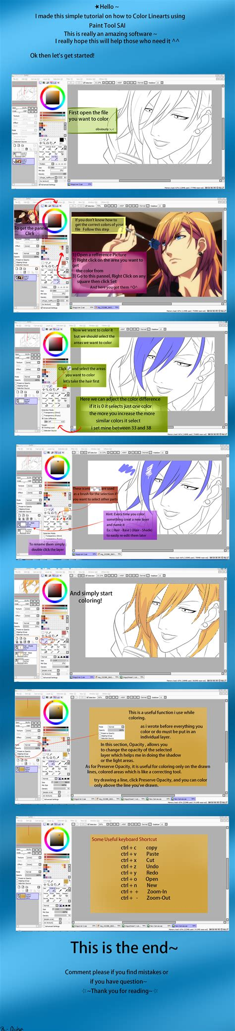 how to color linearts using paint tool sai by drops on deviantart