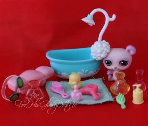 lps bathroom littlest pet shop 15 pc pink panda bear bath set lot