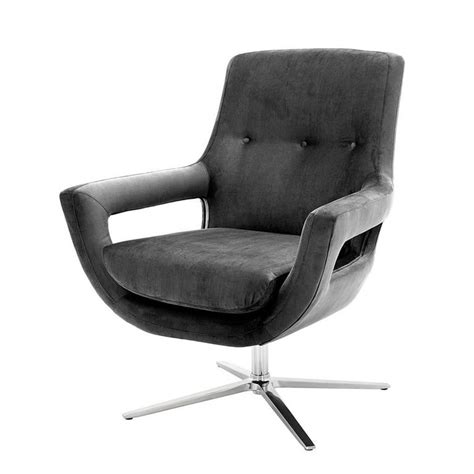 grand office swivel armchair in granite grey fabric for