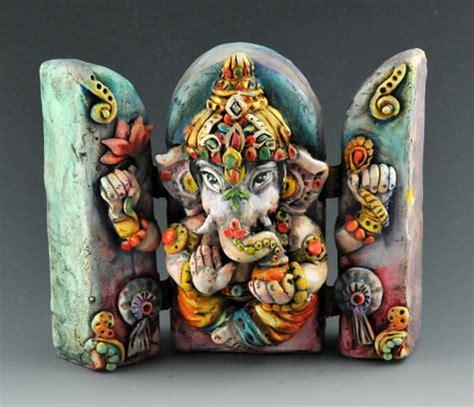 Ganesh polymer clay triptych by artist Doreen Kassel