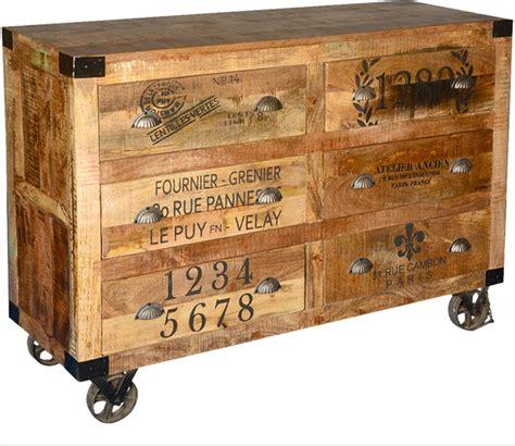 industrial hardwood 6 storage drawers rolling