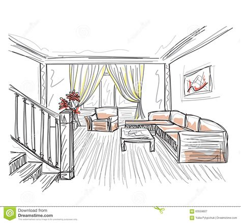 room sketch free room interior sketch stock vector image 63559607