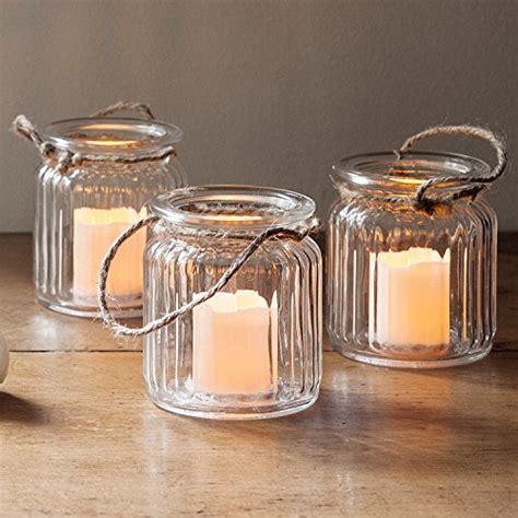 candele a pile set di 3 candele led a pile in vasetti di vetro di lights4fun