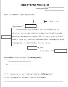 Letter Grade Evaluation Friendly Letter Assessment By Heidi Mcknight Teachers Pay Teachers