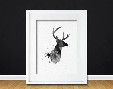 deer hunting art home decor sports poster wall art print watercolor art buck deer gift modern 8x10 wall art decor