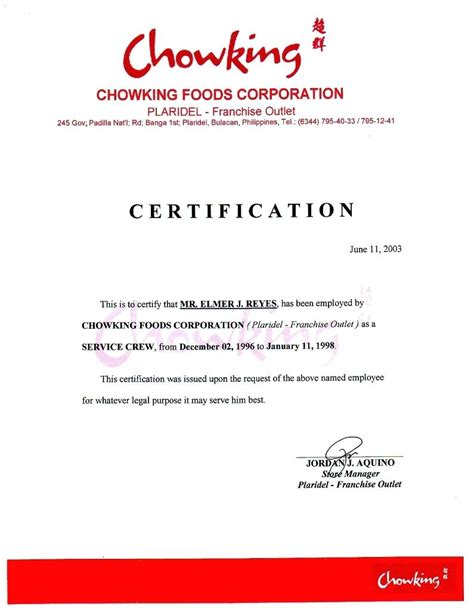 certification letter philippines template sle certificate employment template