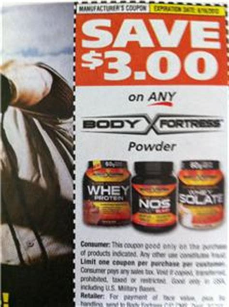 $3.00 off any body fortress whey protein powder, nos