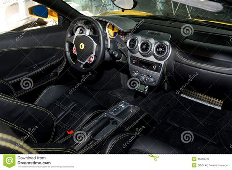 ferrari yellow interior yellow ferrari f430 spider interior editorial stock photo