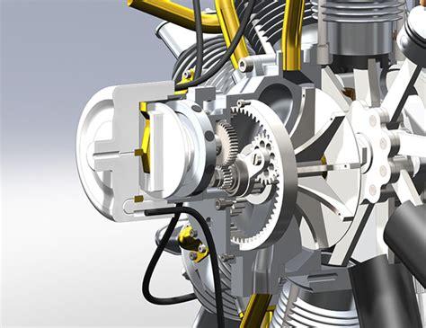 olsryd  cylinder radial engine  solidworks  behance