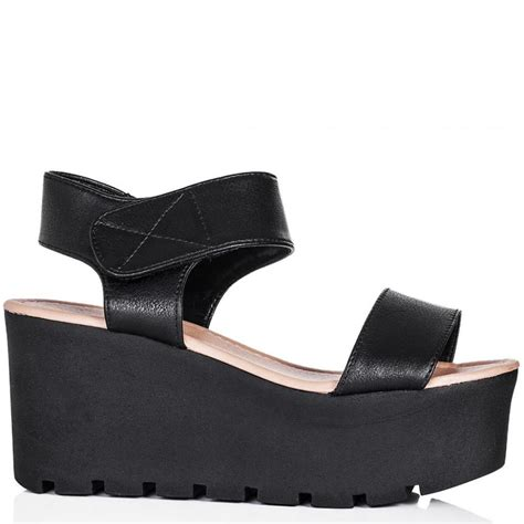 buy sun wedge heel platform flatform sandal shoes black