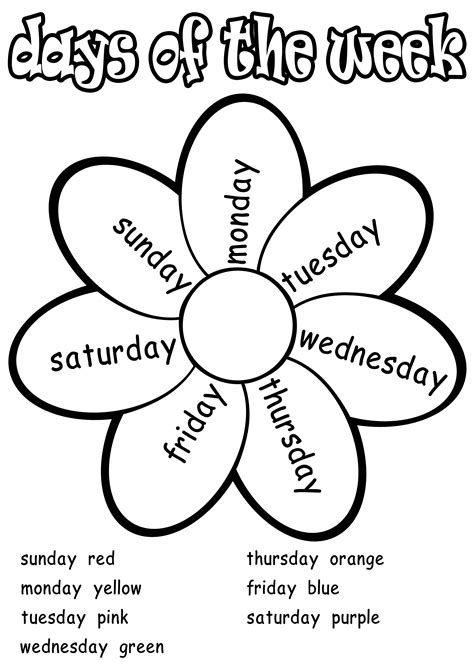 free days of the week worksheets activity shelter