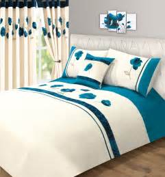 Teal Super King Duvet Cover Teal Blue Amp Cream Colour Modern Stylish Flower Pattern