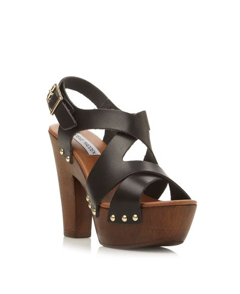 wooden sandals lyst steve madden liable leather strappy wooden heel