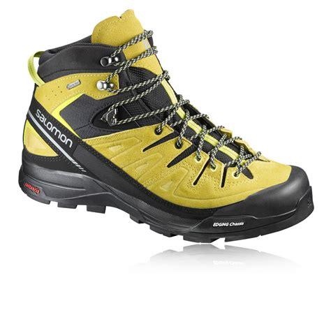 mens salomon walking boots salomon x alp mid ltr mens yellow waterproof tex
