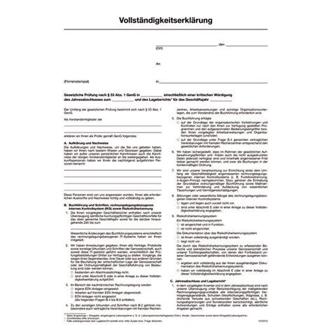 Muster Jahresabschluss Vollst 228 Ndigkeitserkl 228 Rung F 252 R Pr 252 Fungen Kleine Eg