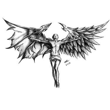 half angel half demon tattoo designs half half designs elaxsir