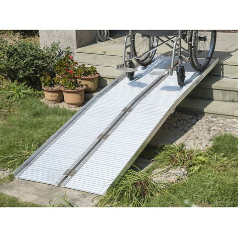 homcom  aluminum wheelchair ramp fold handicap scooter ramp portable mobility ebay