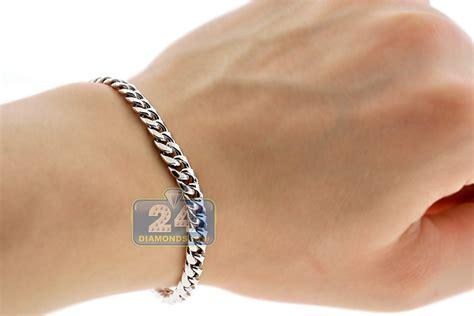 10k white gold hollow miami cuban link mens bracelet 6 mm