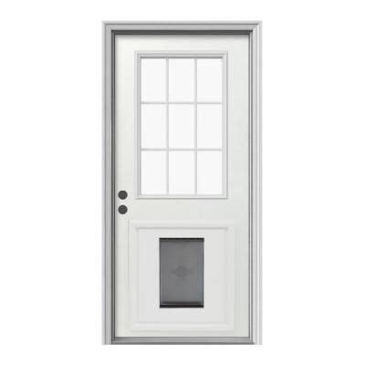 Exterior Pet Doors Jeld Wen 9 Lite Primed White Steel Entry Door With Large Pet Door And Brickmold Thdjw203900012