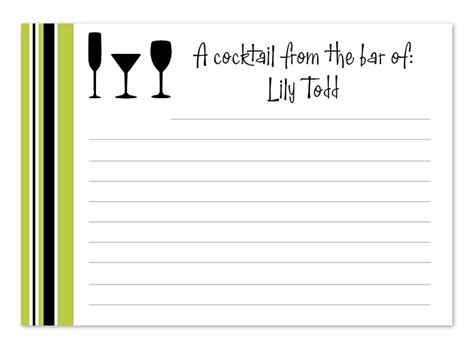 cocktail cards template cocktail recipe card recipe cards by invitation