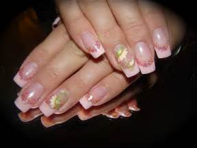 Gel french with acrylic 3 d flower nail art nailic