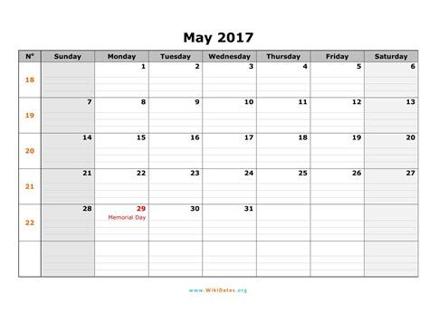 may template may 2017 calendar printable with holidays weekly