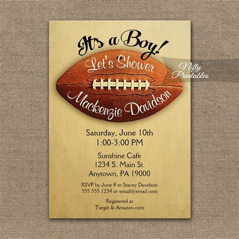 Football Themed Baby Shower Invitations by Football Baby Shower Invitation Vintage Boy Sports Printed
