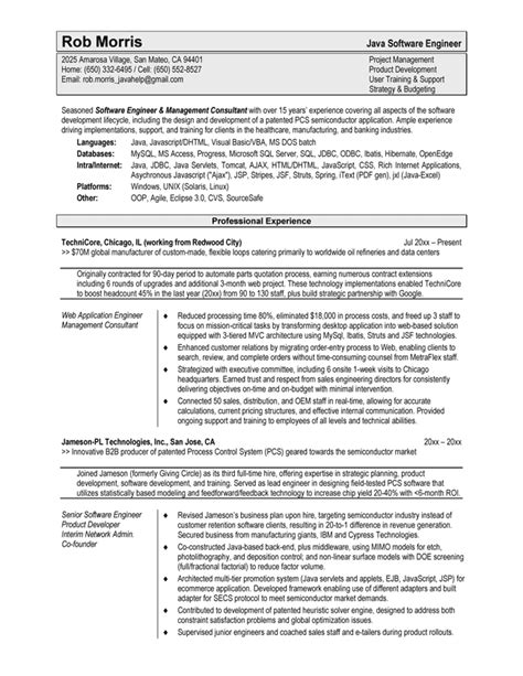 Best Resume Sles For Experienced Software Engineers Resume Sles Exles Brightside Resumes