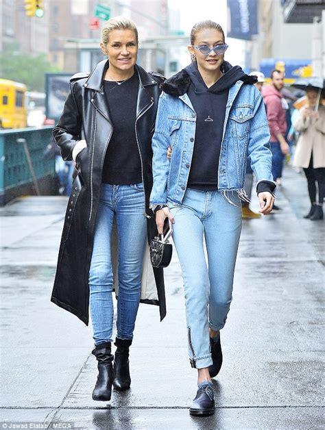 what type of jeans does yolanda foster wear gigi hadid and yolanda do double denim in a rainy nyc