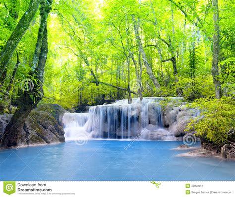 erawan waterfall  thailand beautiful nature stock photo
