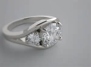 Ring mounting designer exclusive feminine three stone design