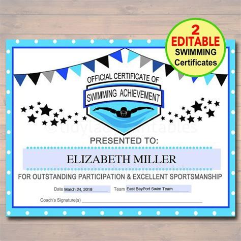 swimming certificates templates best 20 sports awards ideas on awards