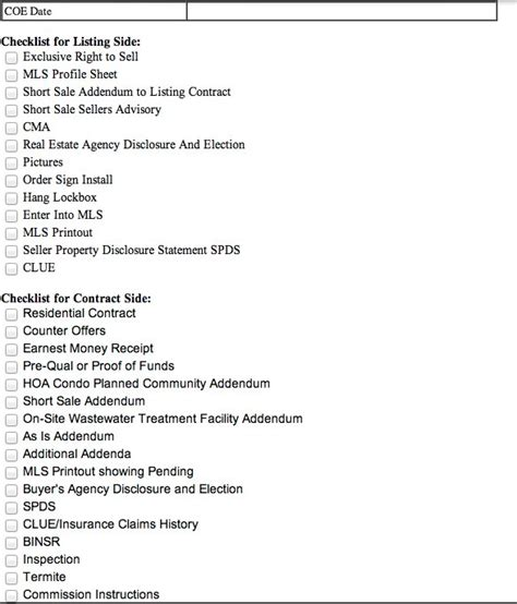 Real Estate Closing Checklist Template by 27 Images Of California Real Estate Closing Checklist