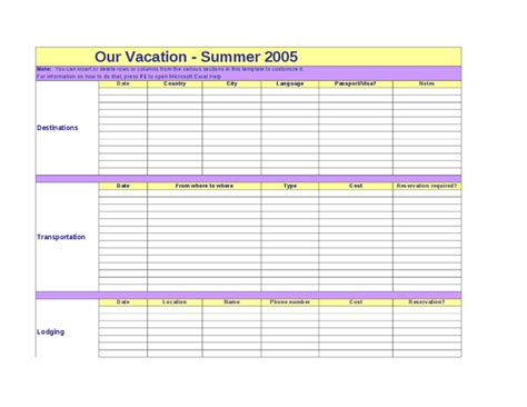 planning a trip template vacation planning template calendar template 2016